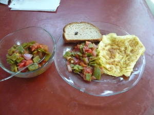Breakfast, eggs cactus, tomatoes, onions